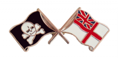 Royal Navy RN White Ensign & Jolly Roger Pin Badge - MOD Approved - M49